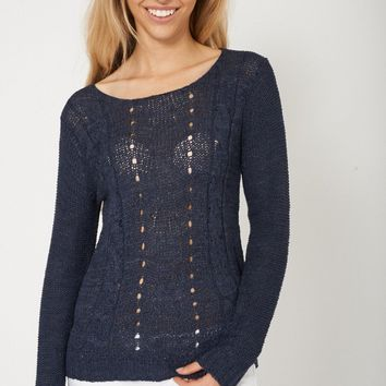 Lovely Cable Knit Navy Sweater