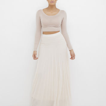 ACCORDING TO JANE PLEATED MAXI SKIRT - BEIGE