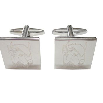 Silver Toned Etched Bison Head Cufflinks