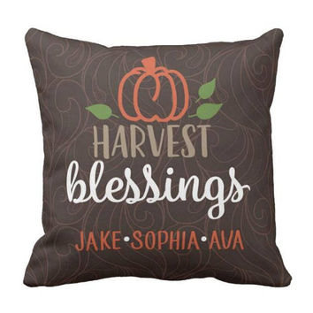Harvest Blessings PILLOW - Family Kids Name Pillow - Personalized Fall Gift - Grandparent Gift - Fall Decor - Pillow Cover or With Insert