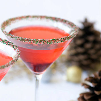 Christmas cocktail sugar - green red drink rim - martinis, sweet margaritas, drinks - recipes included