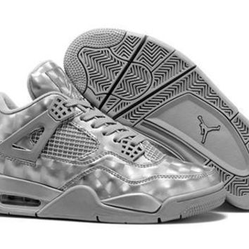 Cheap Air Jordan 4 Men 3D Retro Basketball Shoes Silver