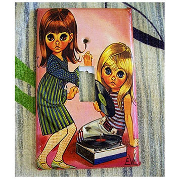 big eye print switch plate vintage sad eye keane retro light switch mod decor
