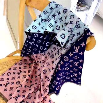 Free shipping-LV new rainbow color printed jacquard letter shawl scarf