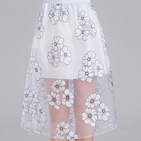 White Floral Mesh A-Line Mid Skirt