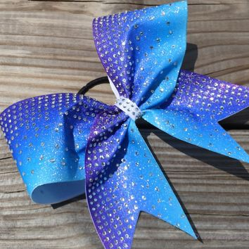 Purple-turquoise ombre glitter bow with thinestones