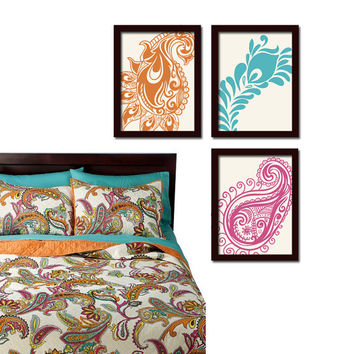 Paisley Peacock Orange Turquoise Pink Floral Design Artwork Set of 3 Prints WALL ART Decor Abstract Picture Bedroom Bathroom Choose Colors