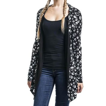 Women Printed Long Cardigans Spring Summer Knitted Thin Skull Head