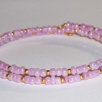 Lavender & Gold Glass Beaded Artisan Crafted Stackable Wrap Bracelet (S-M)