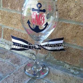Monogram  Personalized Anchor Wine Glass