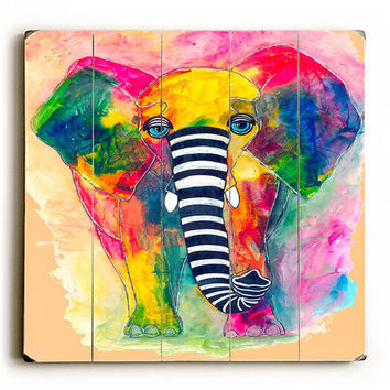 Raining Color Elephant by KG Art Studio Wood Sign