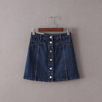 2016 Trending Fashion Women High Waisted Button Jeans Denim Mini Skirt Dress _ 9925