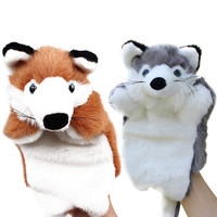Funny Fox Hand Puppet Cartoon Plush Hand Puppets Baby Kids Doll Plush Toys Bedtime Story Telling Toy Brown/Grey