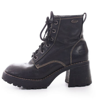 e5389c0aaa06 90s Vintage Black Leather Skechers Chunky Platform Hiking Combat. Footwear