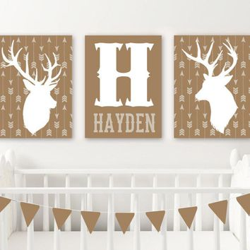 DEER Arrow Nursery Wall Art, DEER CANVAS or Prints, Rustic Country Deer Nursery Decor, Baby Boy Deer Nursery Wall Decor, Set of 3 Pictures