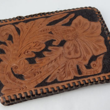 Leather wallet vintage mens billfold western hand tooled carved