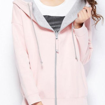 Light Pink Hooded Long Sleeve Multi Convertible Way Pullover Hoodie