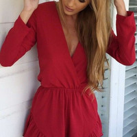 Long Sleeve V-neck Jumpsuit One Piece Dress [4966029572]