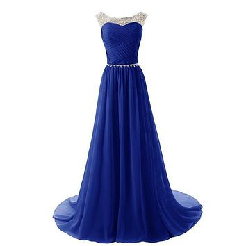cheap 2016 hot Dressystar Beaded Straps A-Line Chiffon Bridesmaid Prom Dresses with Sparkling Embellished Waist Free shipping