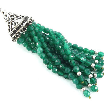 Long Emerald Green Jade Stone Beaded Tassel with Antique Matte Silver Plated Filigree cap - 1pc