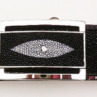 Exotic Genuine Stingray skin mans belt black