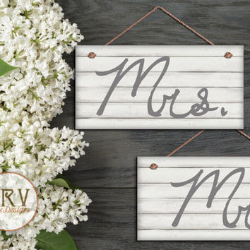 "Mr. and Mrs. Wedding Signs, Shabby Chic Wood Style, White Painted Cedar Wood, Weatherproof, 5""x10""  Wedding Chair Signs, Made To Order"