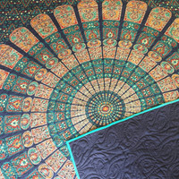 """Blue and teal mandala tapestry quilt/ Handmade India tapestry quilt/ boho chic bohemian gypsy QUEEN blanket size 77"""" x 85 1/2"""""""