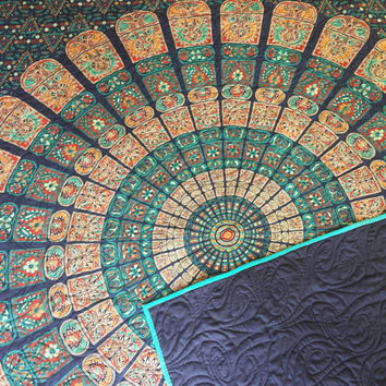 "Blue and teal mandala tapestry quilt/ Handmade India tapestry quilt/ boho chic bohemian gypsy QUEEN blanket size 77"" x 85 1/2"""