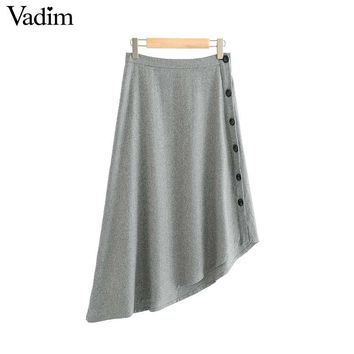 Women Buttons Asymmetrical Skirt Solid Pleated Office Lady Work Wear Casual Grey A-line Midi Skirts
