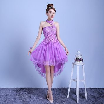 ZX-D48ZS#2016 new summer short long before after shortparagraph a bride bridesmaid dresses wedding dress female toast Red purple