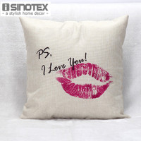 New Style Sexy Lips Print Linen Cushion 45*45cm Decorative Car Seat Cushions