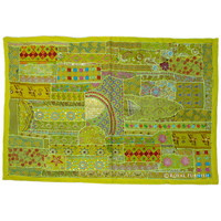 Yellow Large Indian Vintage Sari Patchwork Embroidered Runner Tapestry Wall Hanging Art