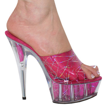 Karo Shoes 0480-6 - Clear with Hologram, 6 inch Heels