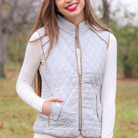 Fur Lined Quilted Riding Vest - Light Grey