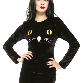Black Kitty Cat Velvet Dress