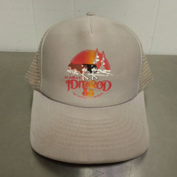 "Rare 1980's Iditarod Sled Race Snapback Hat Mesh Trucker Hat Huskies Sled Dogs Vintage 1988 ""The Last Great Race On Earth"""