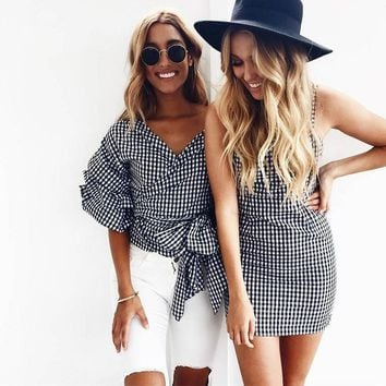 New women slip mini dresses shirt vintage gingham vestido club sundress female strap sleeveless pleated dress 2017 summer LG007