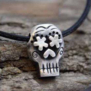 Fine Silver - Mens Day Of the Dead Skull Necklace