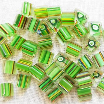 Lot of 20 glass cane beads, striped triangle and cube bead mix, green yellow & red 5mm - 6mm X 5mm - 6mm lot#2 C4901