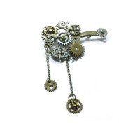 Steampunk Brooch ,  Pin Gear Brooch  ,  Cog Steampunk Pin , Victorian Steampunk Brooch