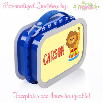 Circus Lunchbox - Personalized Lunchbox with Interchangeable Faceplates - Double-Sided Circus Lion Lunchbox