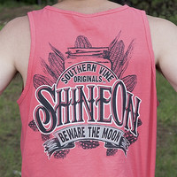 Southern Vine Originals Shine On Mason Jar Beware of the Moon Moonshine Unisex Salmon Bright Tank Top Shirt