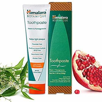 Himalaya Neem and Pomegranate Toothpaste, Natural, Fluoride-Free, SLS-Free, Gluten-Free & Saccharin-Free, 5.29 oz (150 g)