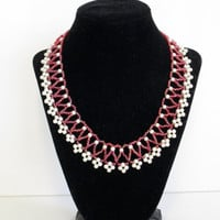 pearl bead necklace beaded woven netted pink bridal attendant gift