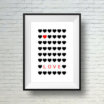 Wall Art Print, Home Decor Print, Love Print, Black and Red Modern Wall Art