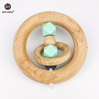 Let's Make 10pc Baby Rattles Toys Beech Wooden Rings Rattles Teether Play Gym Stroller Toy Baby Gifts Wooden Teether Diy Charms