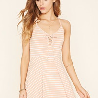 Lace-Up Striped Cami Dress