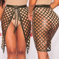Army Green Laser Cut Open Front Skirt