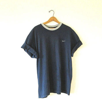 Vintage 90s NIKE Swoosh Embroidered Navy & Gray Athletic T Shirt Sz XL