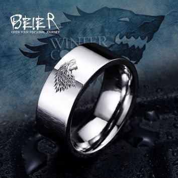 Stainless Steel ring Game of Thrones ice wolf House Stark of Winterfell men ring  LUO001